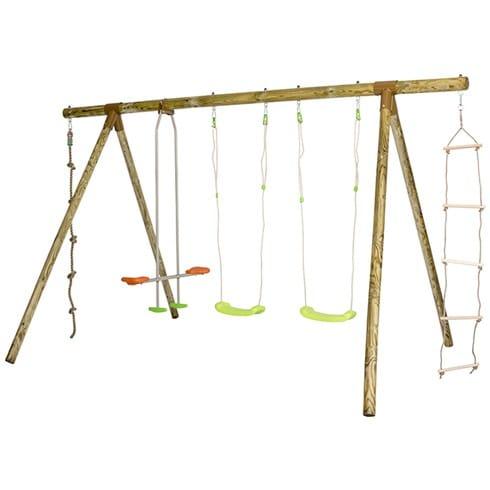 Portique bois Nani Trigano - 2 balançoires, face à face, échelle de corde, corde à noeud, largeur 3.80 m, hauteur 2.30 m