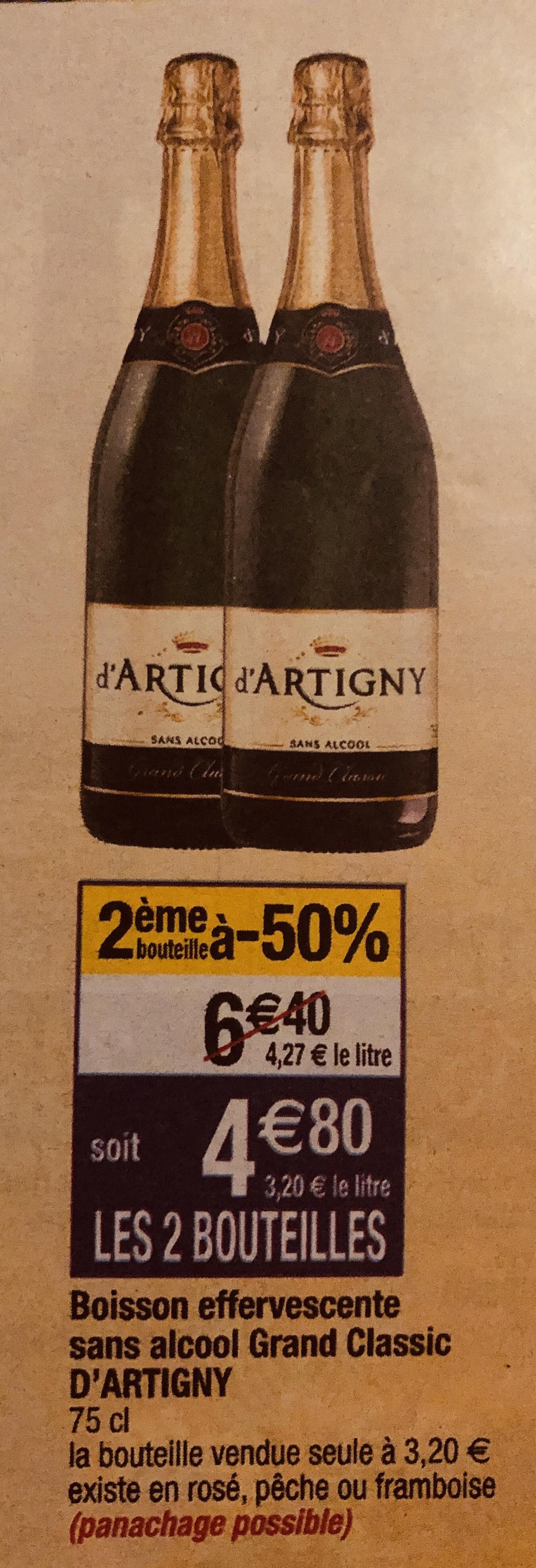 4 Bouteilles d'effervescents sans alcool d'Artigny (Via Shopmium)
