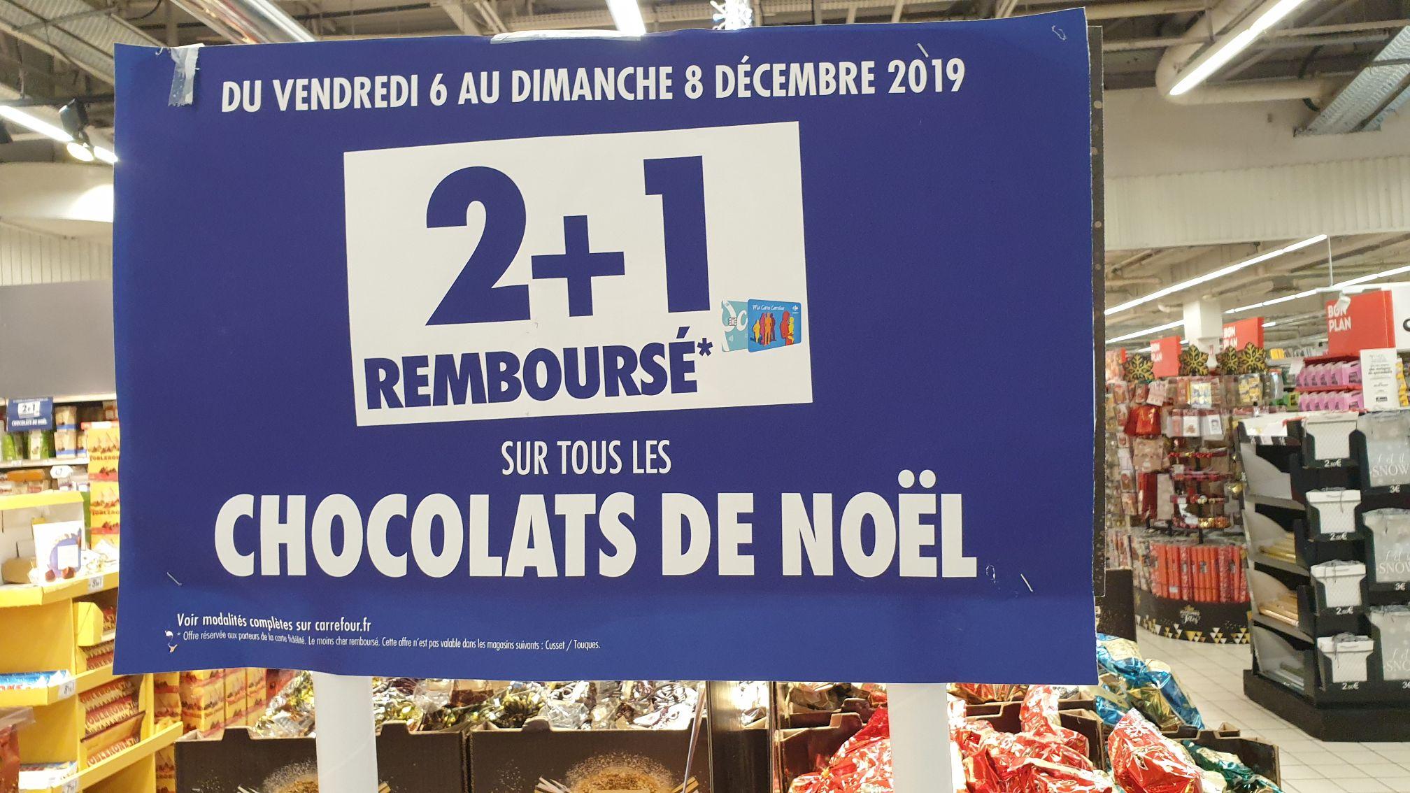 3 articles chocolats de Noël achetés = 1 remboursé sur la carte fidélité