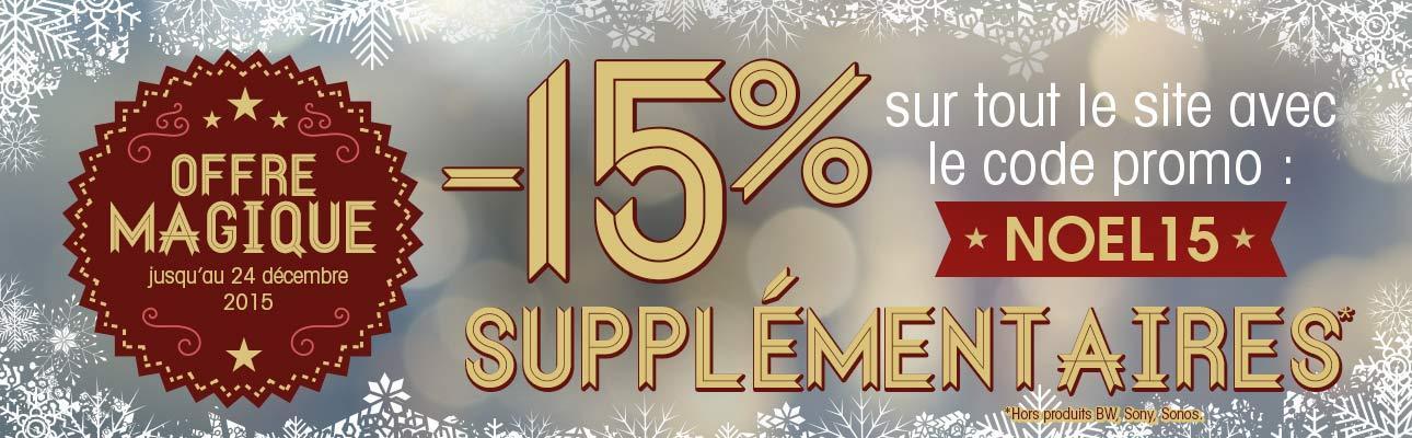 15% de réduction sur tout le site (Hors BW/Sonos et Sony)