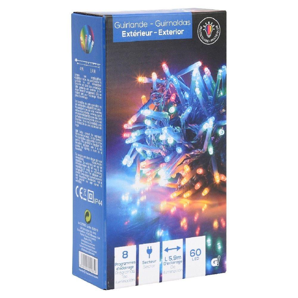Guirlande lumineuse multicolore extérieur - 60 LED, 5,90 m