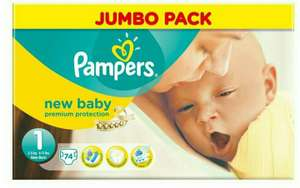 Lot de 72 Couches Pampers New Baby 2 à 5 Kg Taille 1 Jumbo Pack
