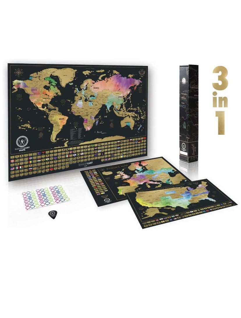 3 cartes à gratter de haute qualité avec accessoires complets et drapeaux de tous les pays (Vendeur tiers)