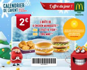 Sélection d'offres promotionnelles - Ex : 1 Big Mac, ou 6 Nuggets ou 1 Filet-O-Fish à 2€ (75002 Paris)