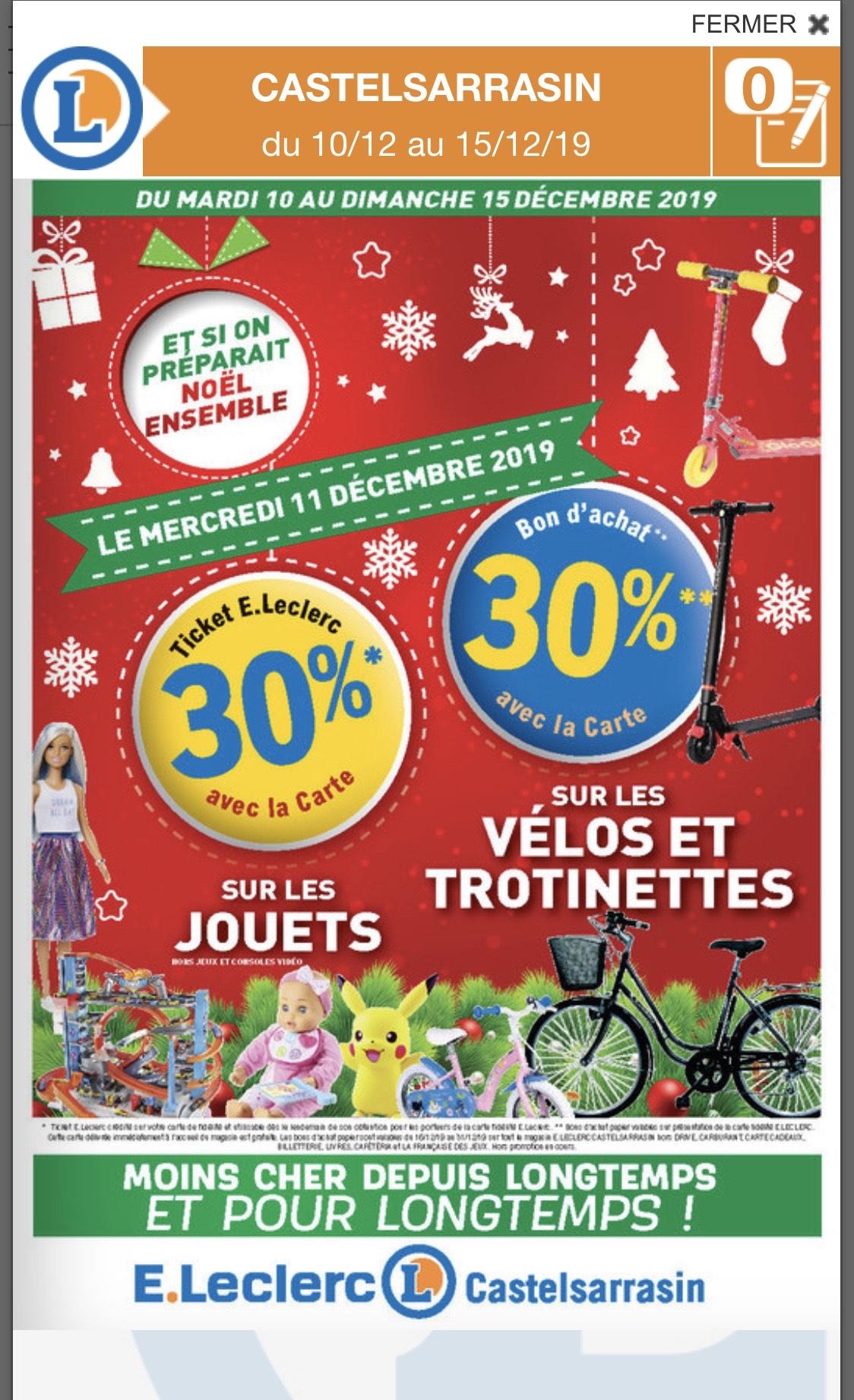30% en bon d'achat pour tout achat de trottinettes ou vélos - Castelsarrasin (82)