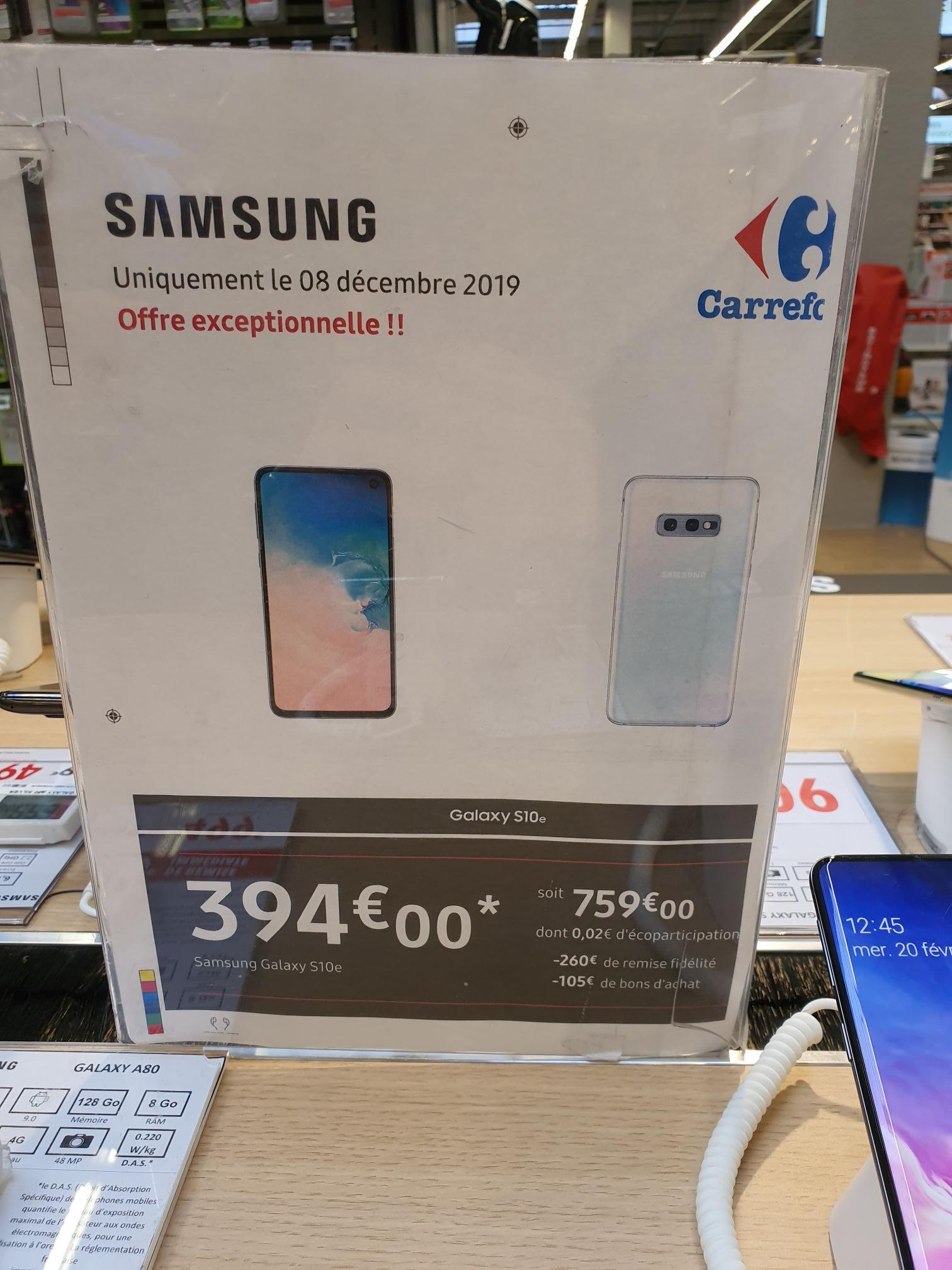 """Smartphone 5.8"""" Samsung Galaxy S10e - 128 Go (Via 260€ sur Carte Fidélité et 105€ en Bons d'Achat) - Aulnay-sous-Bois (93)"""