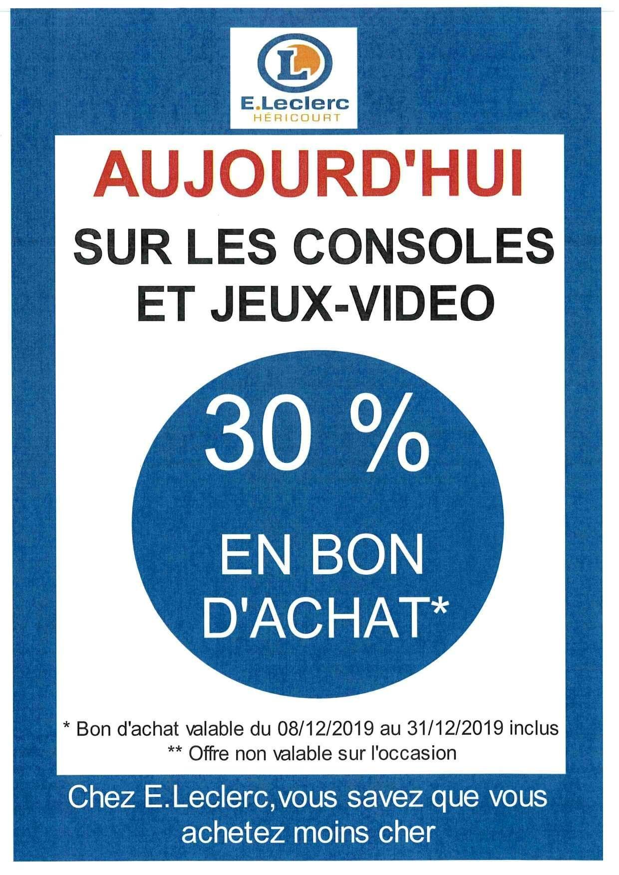 30% offerts en bon d'achat sur les consoles et jeux vidéo (Hericourt 70)
