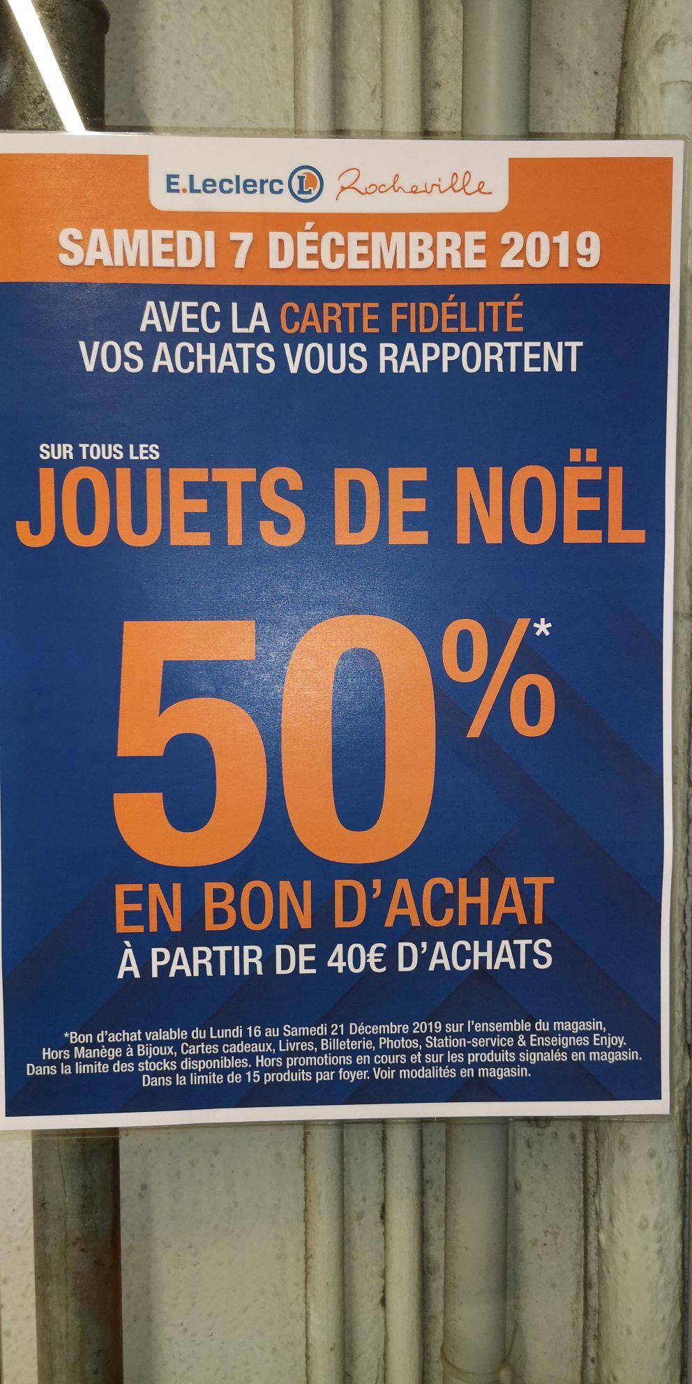50% de réduction crédité en bon d'achat dès 40€ d'achat sur les jouets - Le Cannet (06)