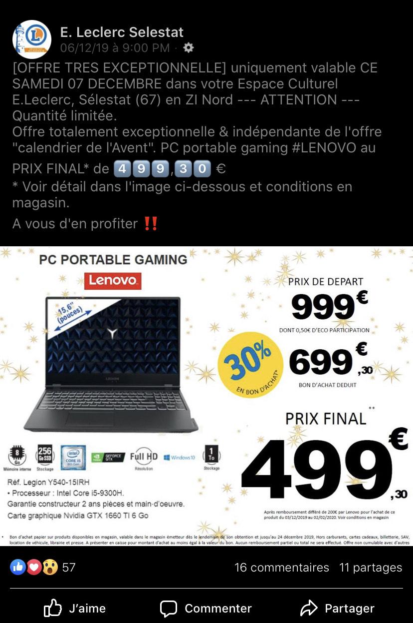 "Pc Portable 15,6"" Lenovo Légion - i5, 8Go RAM, 256Go SSD, GTX 1660Ti 6Go (Via 300€ en Bon d'achat + ODR de 200€) - Sélestat (67)"
