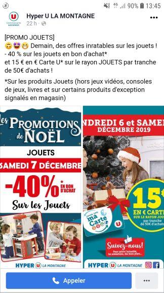 40% de réduction crédité en bon d'achat sur les rayons jouets + 15€ sur la carte u sur les rayons jouets par tranche de 50€ d'achat