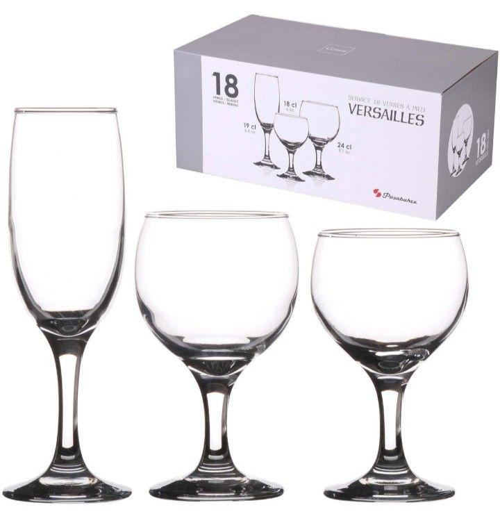 Service de 18 verres à pied Pasabahce Versailles (Via 14.95€ sur la Carte)