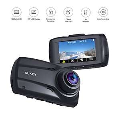 Caméra embarquée Aukey Double Dashcam - 1080p, Angle 170°, Avant/Arrière (Vendeur tiers)