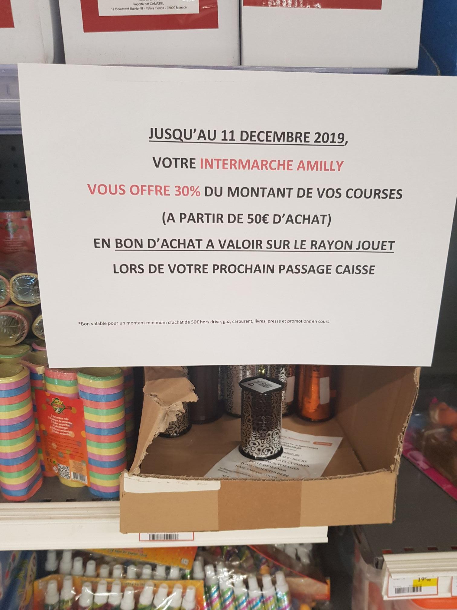 30% du montant de vos courses en bon d'achat de 50€ minimum à valoir sur le rayon Jouet (Amilly 45)