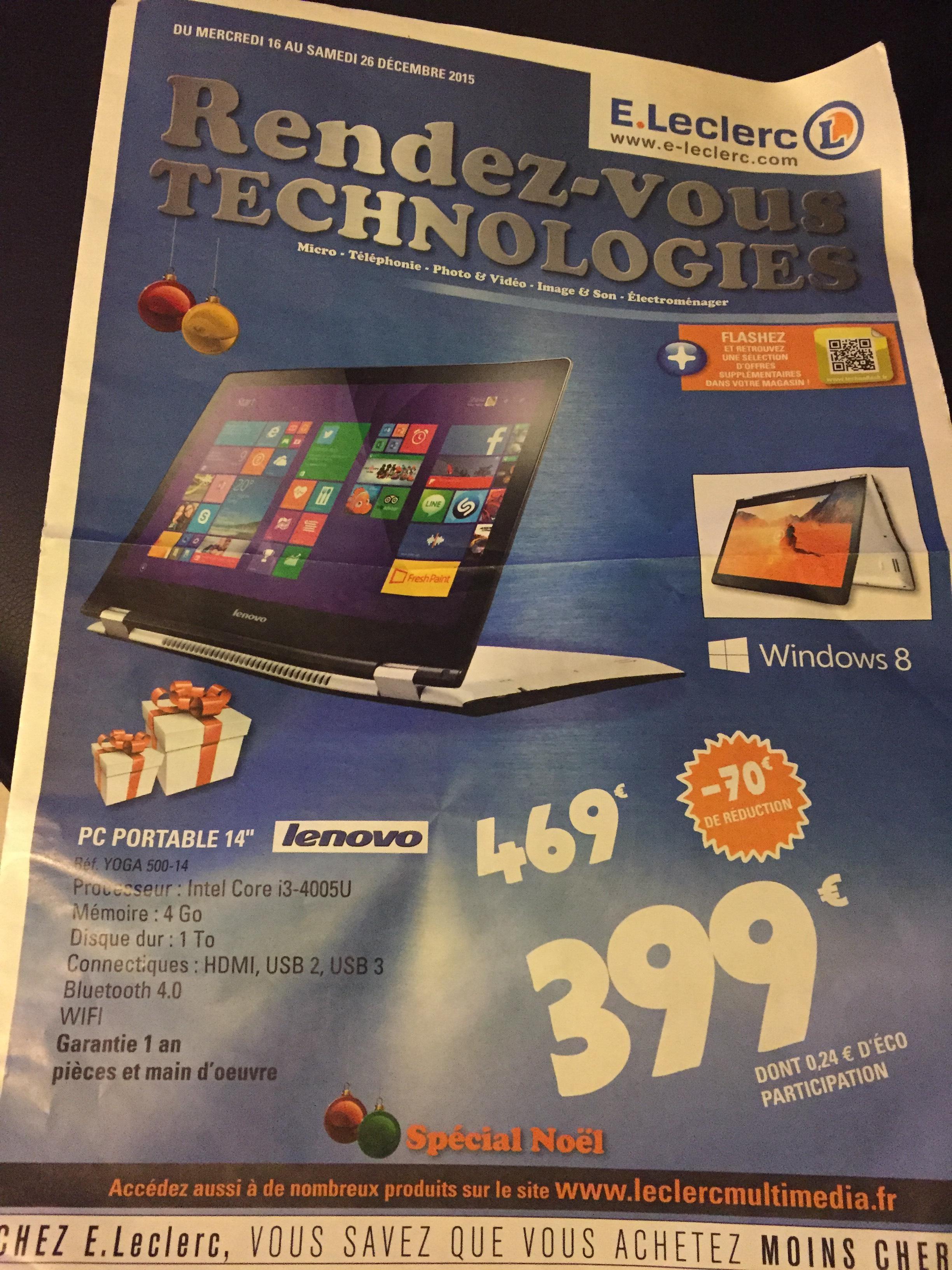 "PC portable 14"" Convertible Lenovo yoga 500-14 (i3-4005U, 4 go ram, 1 To HDD)"
