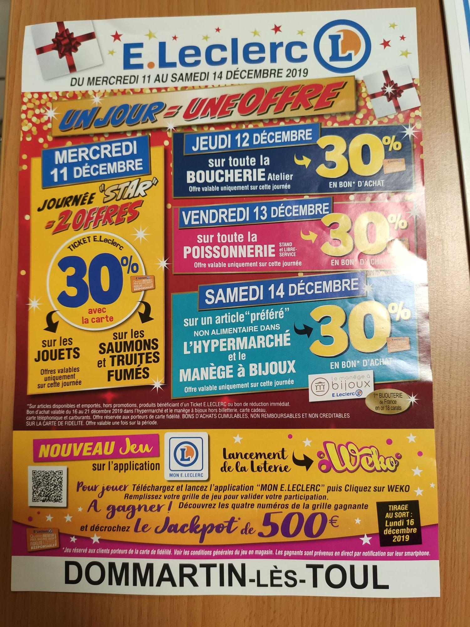 30% offerts en bon d'achat sur l'article préféré - Dommartin-lès-Toul (54)