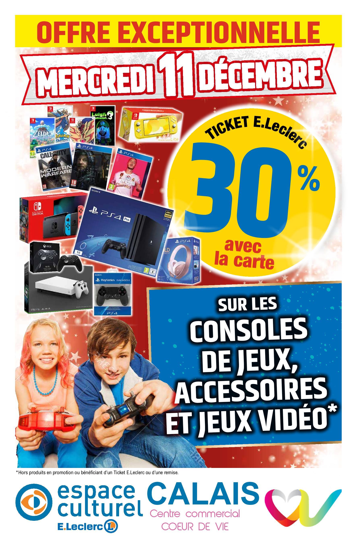 30% offerts en ticket Leclerc sur les Jeux, consoles et accessoires - Espace culturel Calais (62)