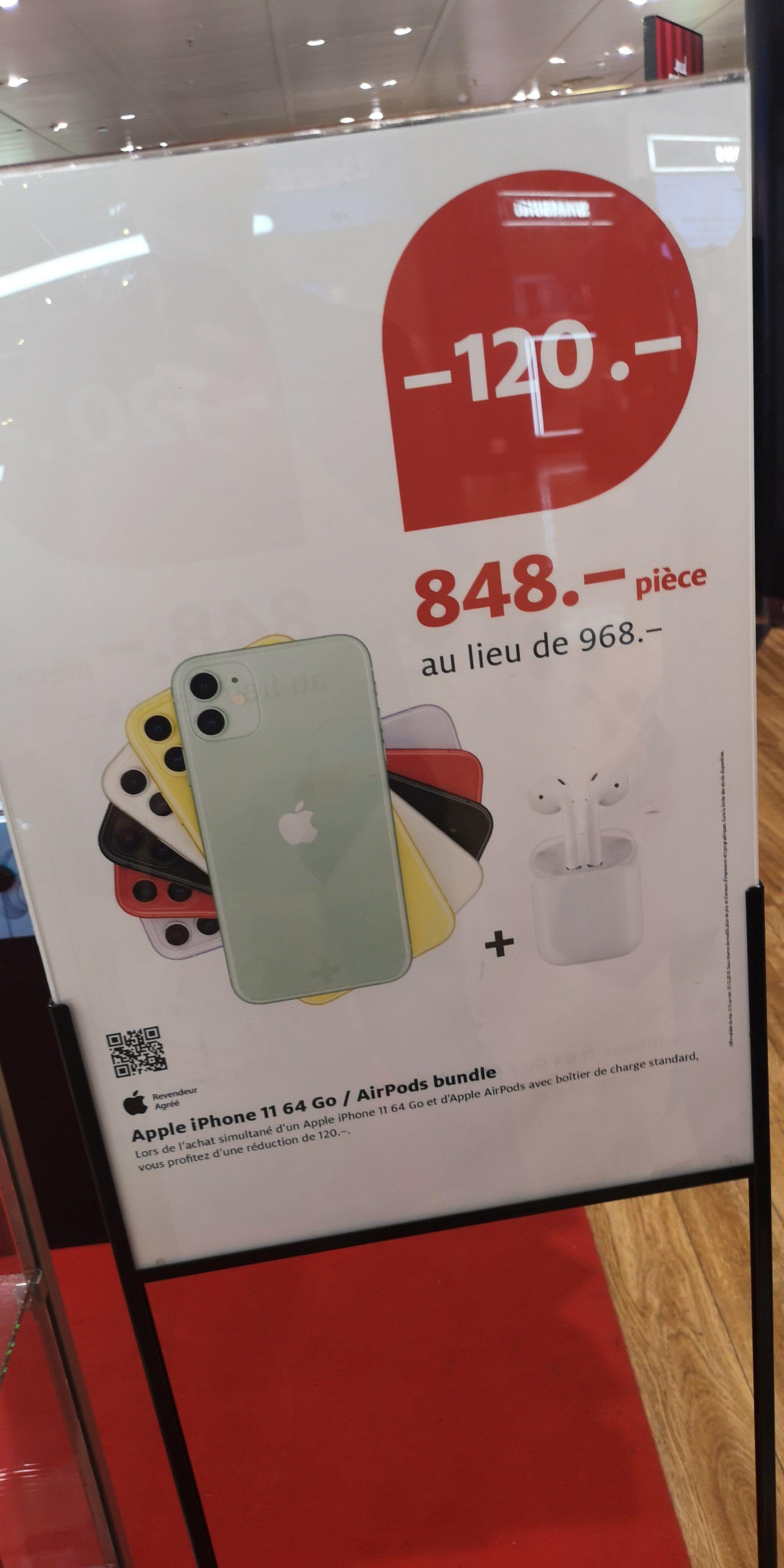 """Smarpthone 6.1"""" Apple iPhone 11 - 64 Go + Ecouteurs sans-fil Apple AirPods v2 avec boitier de charge filaire - Genève (Frontaliers Suisse)"""