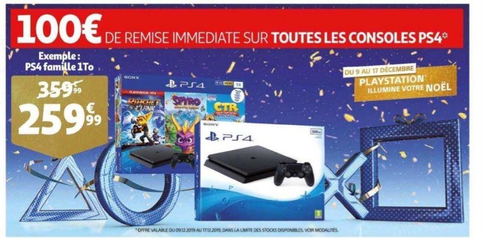 100€ de réduction sur toutes les PS4 - Ex: Console Sony PS4 Slim 1To + ratchet et clank + crash team racing + spyro le dragon