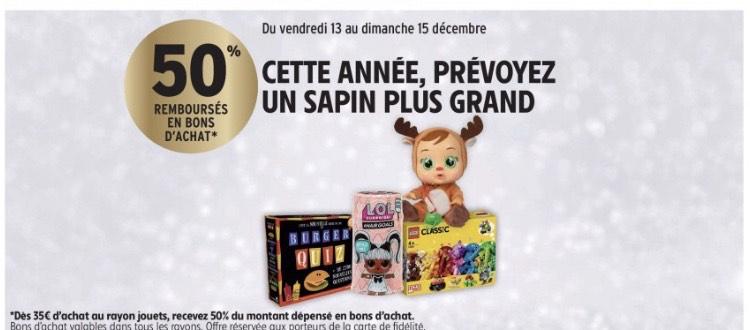 [Carte fidélité] 50% remboursé en bon d'achat dés 35€ d'achats sur tout le rayon jouets