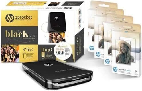 Pack Imprimante photo portable HP Sprocket Plus + 80 feuilles photo Zink (103,90€ avec FETES2019)