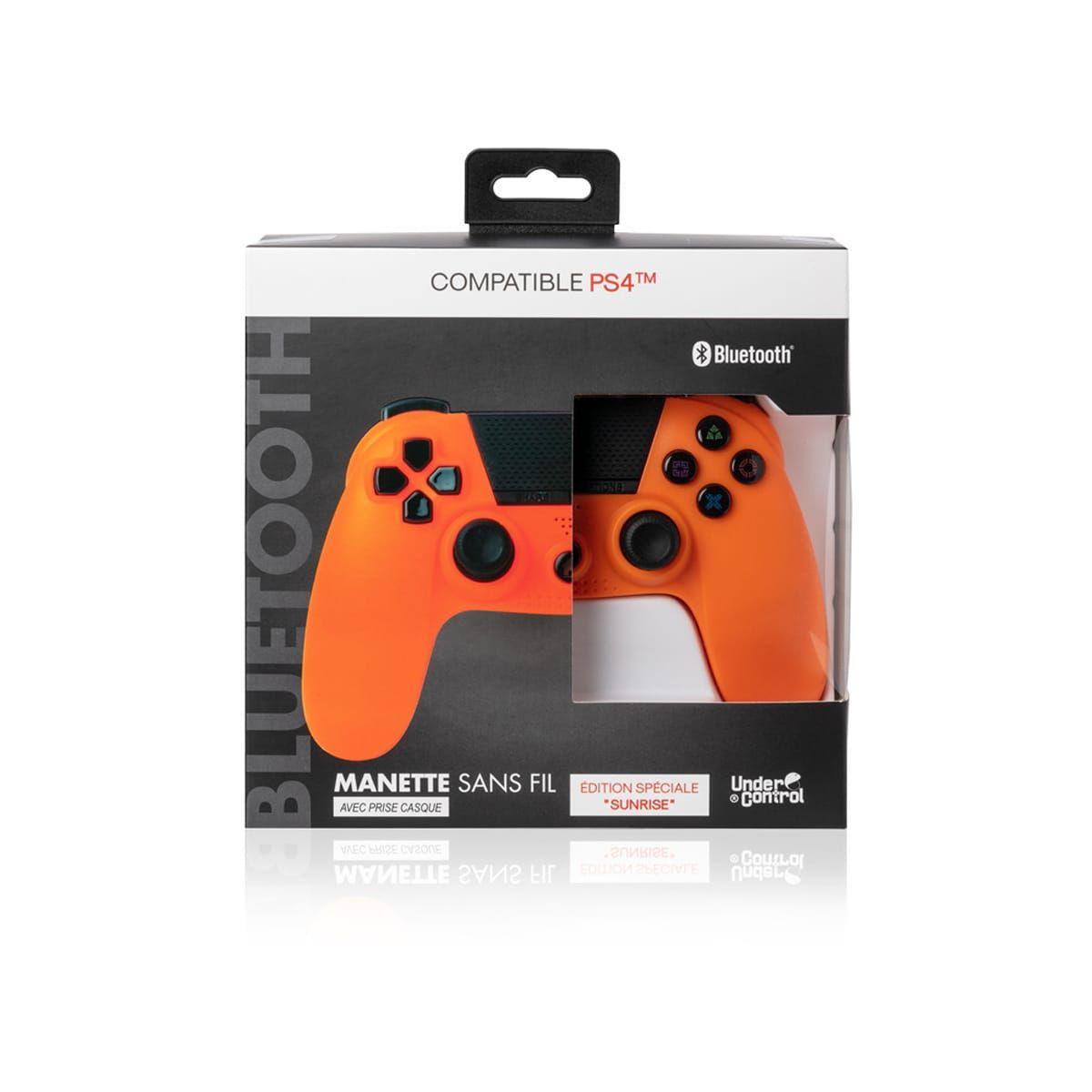 Manette Bluetooth Sunset Orange compatible PS4 (via 20€ sur la carte fidélité)
