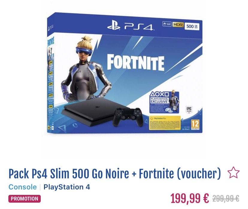 Pack Console PS4 Slim - 500 Go + Bundle Fortnite