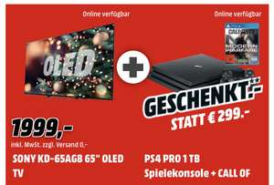 """TV OLED 65"""" Sony Bravia KD-65AG8 - UHD 4K, HDR, Smart TV + Pack Console PS4 Pro 1To & Call Of Duty Modern Warfare (Frontaliers Allemagne)"""