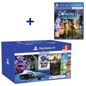 Méga Pack PSVR avec Caméra + VR Worlds + Skyrim + Everybody's Golf + Resident Evil 7 + Astro Bot (Dématérialisés) + Concrete Genie