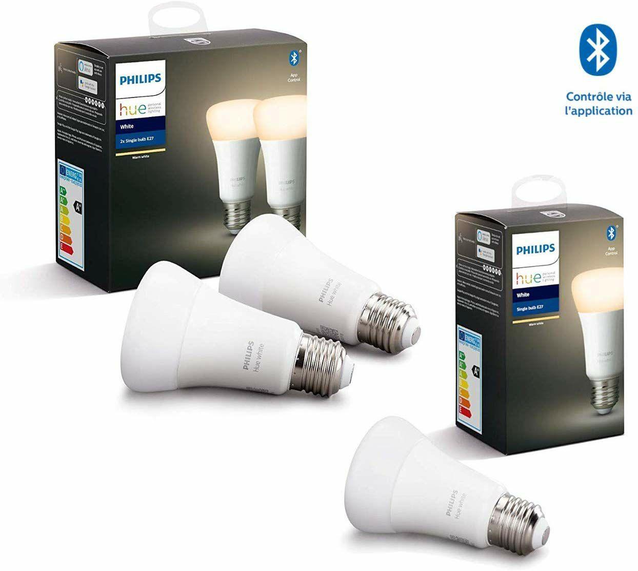 Lot de 3 Ampoules LED Connectées Philips Hue White E27 compatible Bluetooth / Alexa