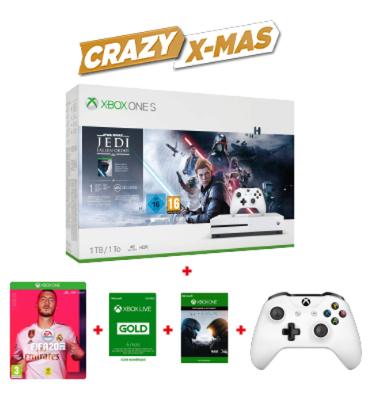 Pack Console Xbox One S - 1 To + Star Wars Jedi Fallen Order + FIFA 20 + DLC Halo 5 + 2ème manette + 6 mois de Xbox Live