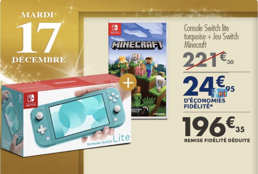Console Nintendo Switch lite turquoise + Minecraft à 196,35€ (via 25,95€ sur la carte fidelité)