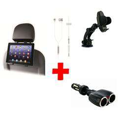 Pack voiture OXO Support universel + Kit mains libres filaire + double chargeur allume-cigare + support tablette