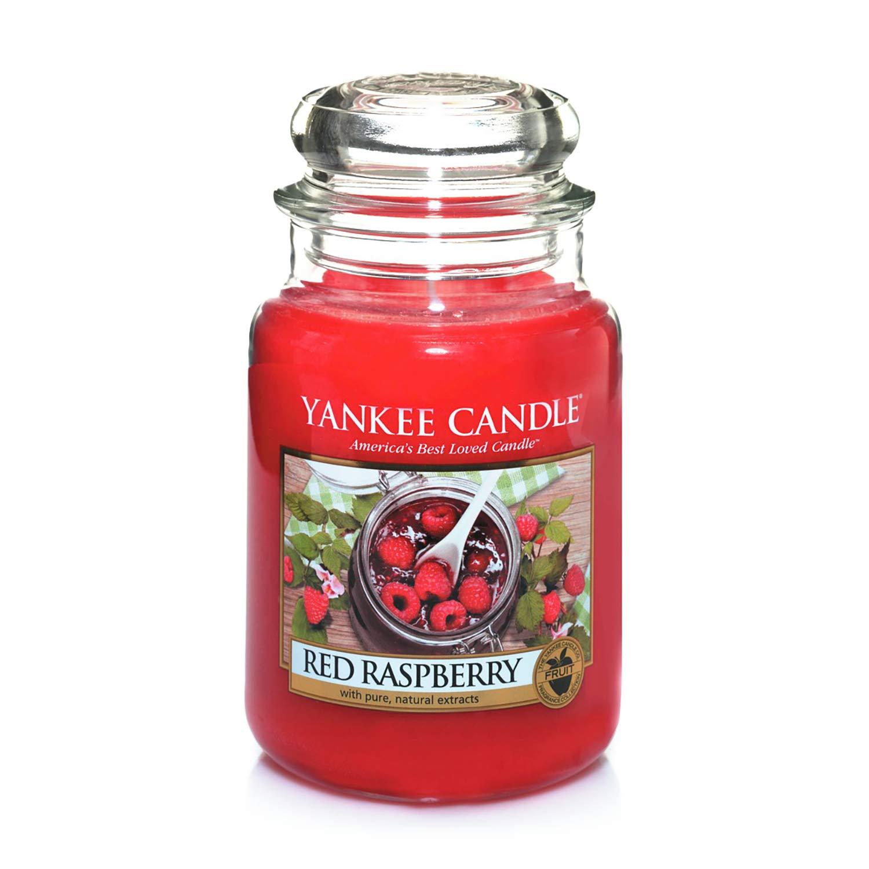 Bougie jarre parfumée Yankee Candle - Framboise rouge, jusqu'à 150 heures de combustion