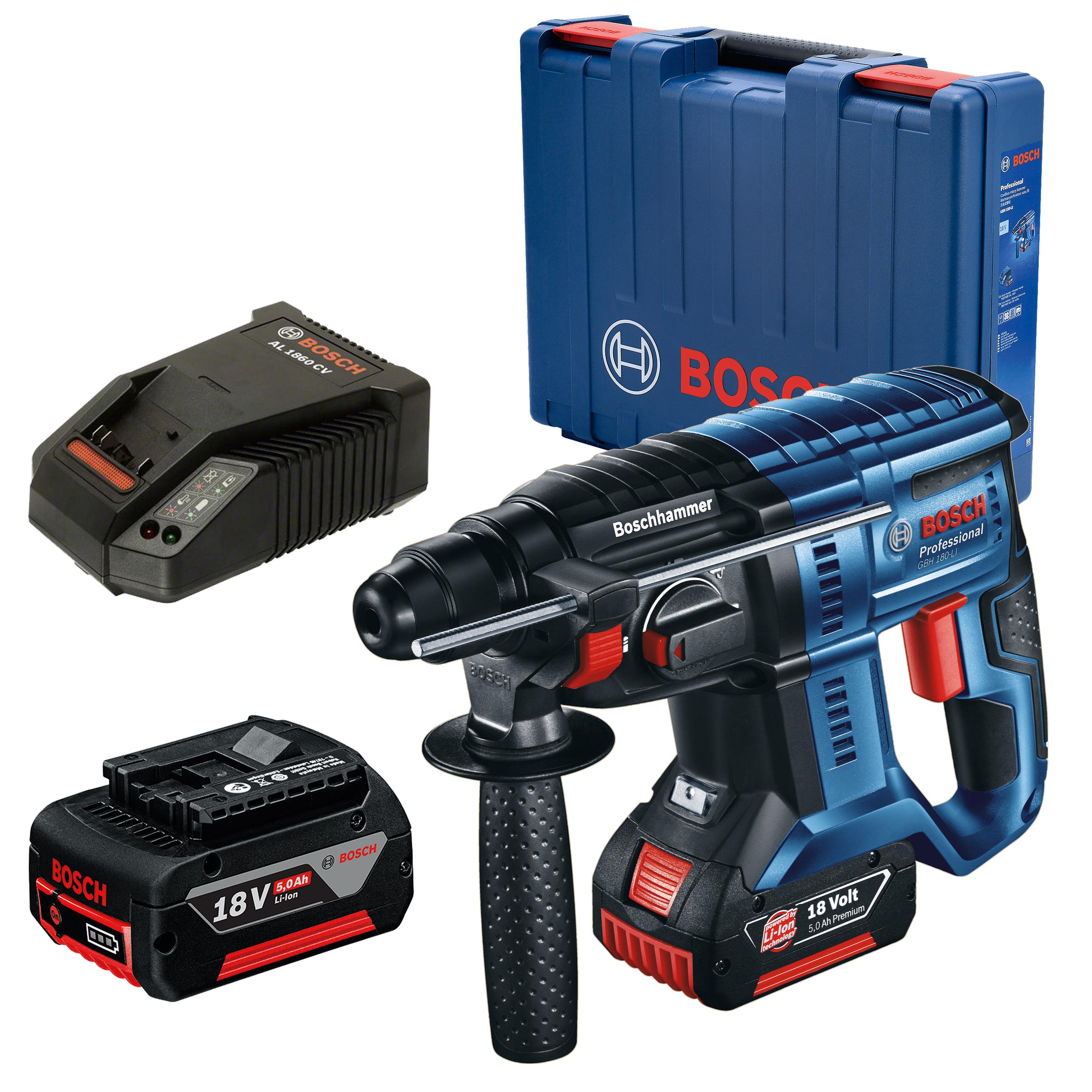 Marteau Perforateur sans Fil Bosch Professional GBH 18V-20 - 2 batteries 5.0Ah, chargeur, mallette