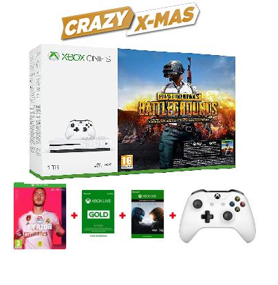 Console Xbox One S 1 To Blanche + PUBG + Halo 5 + FIFA 20 + 2e manette + 6 mois de Xbox Live Gold