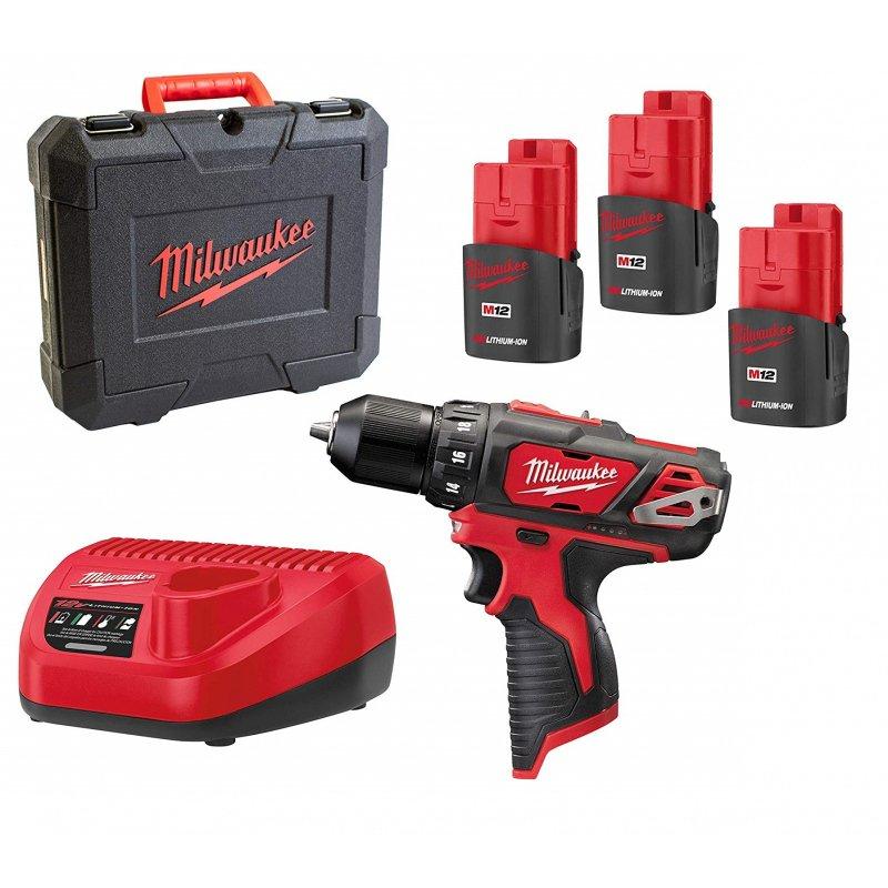 Perceuse-Visseuse sans fil 12V Milwaukee M12 BDD-153C - 30Nm, 3 batteries 1.5Ah, chargeur, mallette