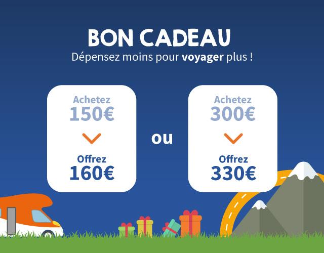 Bon d'achat de 160€ pour 150€ et 330€ pour 300€ - wikicampers.fr