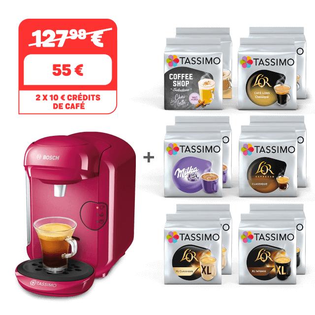 Machine à café Tassimo Vivy 2 Framboise offerte pour l'achat de 12 paquets de capsules Tassimo