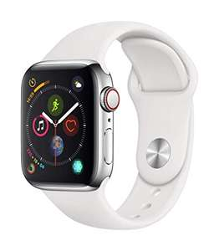 Apple Watch Series 4 Acier Inoxydable (GPS + Cellular) - 40 mm avec Bracelet Sport Blanc