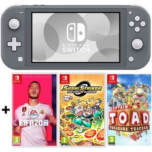 Pack Console Nintendo Switch Lite Grise + FIFA 20 + Sushi Striker : The Way of Sushido + Captain Toad : Treasure Tracker