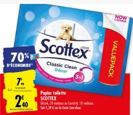 Pack de 24 rouleaux de papier toilette Scottex (Via 5.49€ sur la carte fidélité)