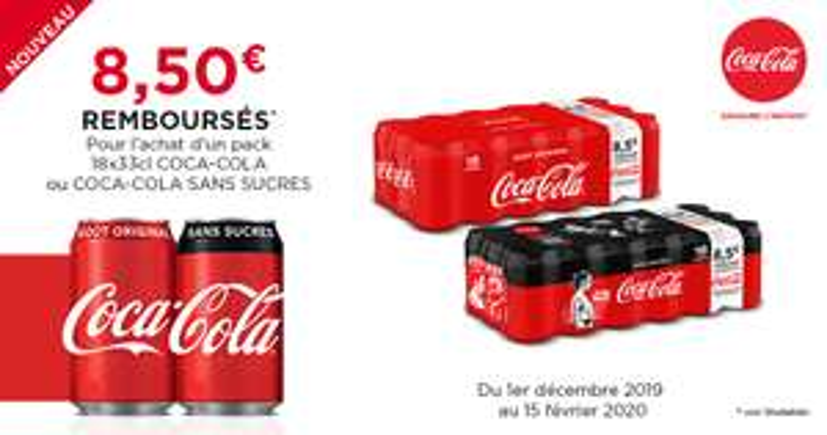 3 bons de réductions de 2€ + 1 bon de 2.5€ à valoir sur la gamme Coca-Cola pour l'achat d'un pack de 18 canettes de Coca-Cola 33cl (via ODR)