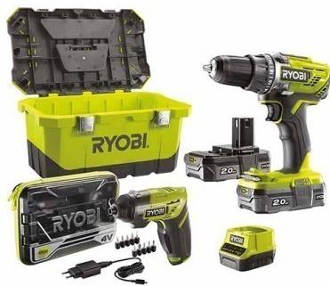 Perceuse visseuse Ryobi R18DD3-220ET sans fil - 18V + Tournevis électrique 4V + Accessoires