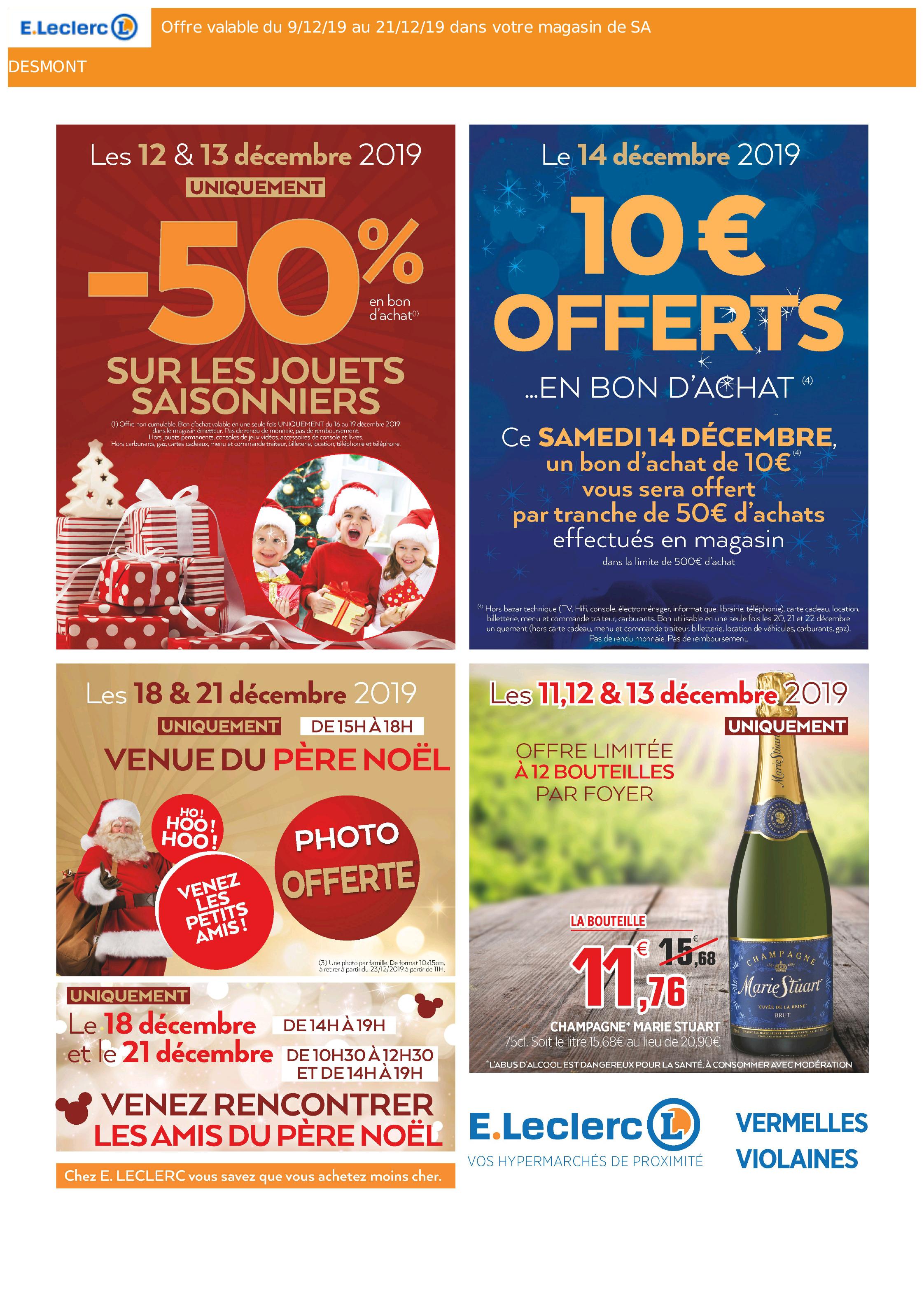 10€ offerts en bon d'achat par tranche de 50€ d'achats et 50% offerts en bon d'achat sur les jouets - Vermelles (62)