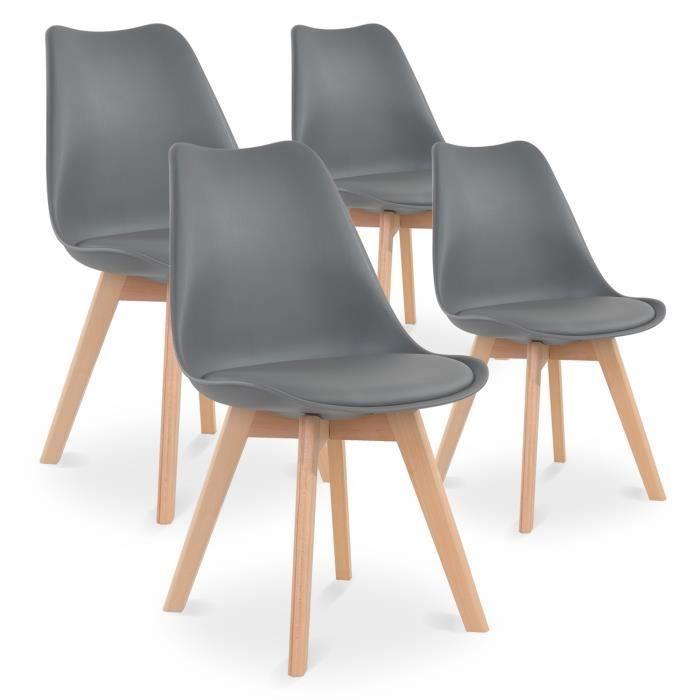 Lot de 4 chaises style scandinave Catherina Gris (Vendeur Tiers)