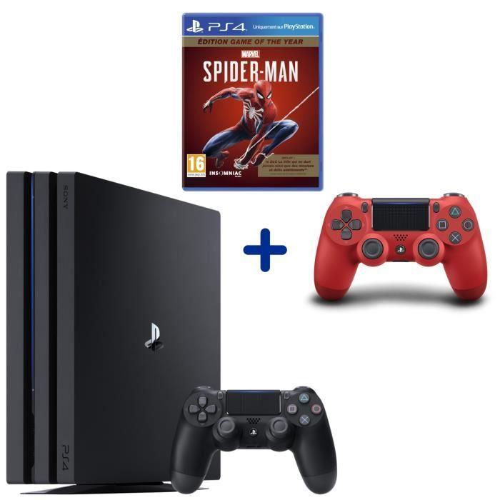 Sélection de packs PS4 Pro - Ex : Console Sony PS4 Pro 1 To (Noir) + 2ème Manette DualShock 4 (Rouge) + Marvel's Spider-Man GOTY