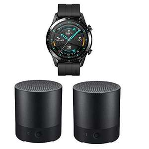 Montre connectée Huawei Watch GT 2 46mm (Noir) + 2 mini-enceintes Bluetooth Huawei CM510