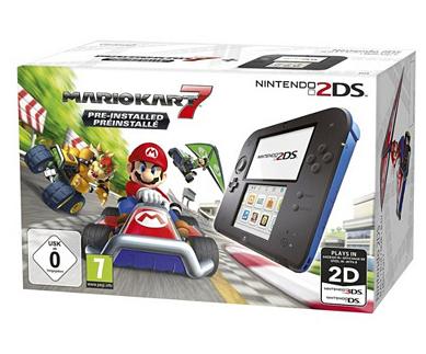 Console Nintendo 2DS Mario Kart 7 + 3 jeux : Captain Toad + L'aventure Layton + Yo Kai Watch 2