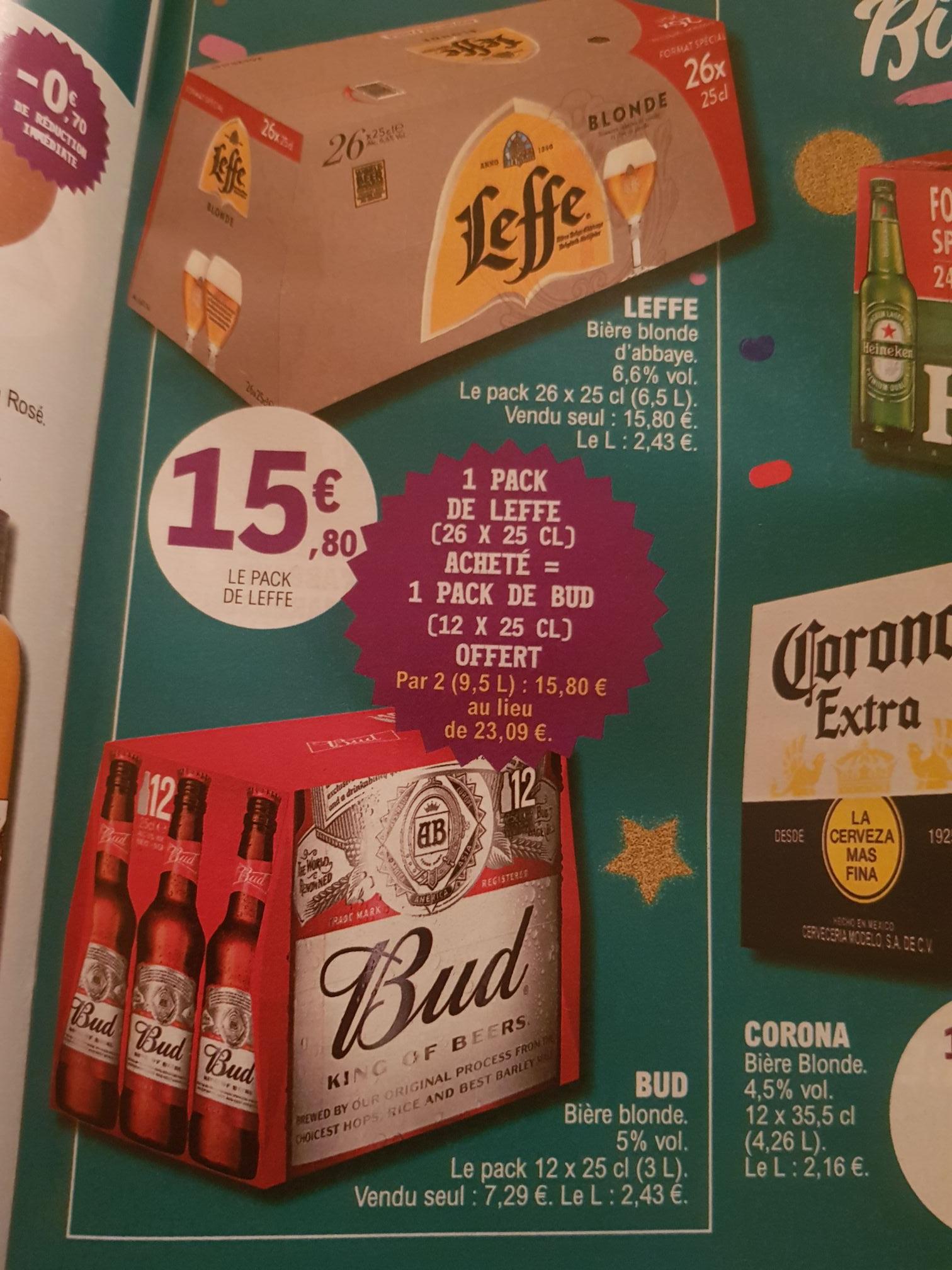 1 Pack de bières Leffe ( 26 x 25 cl) + 1 Pack de bières BUD (12 x 25 cl)