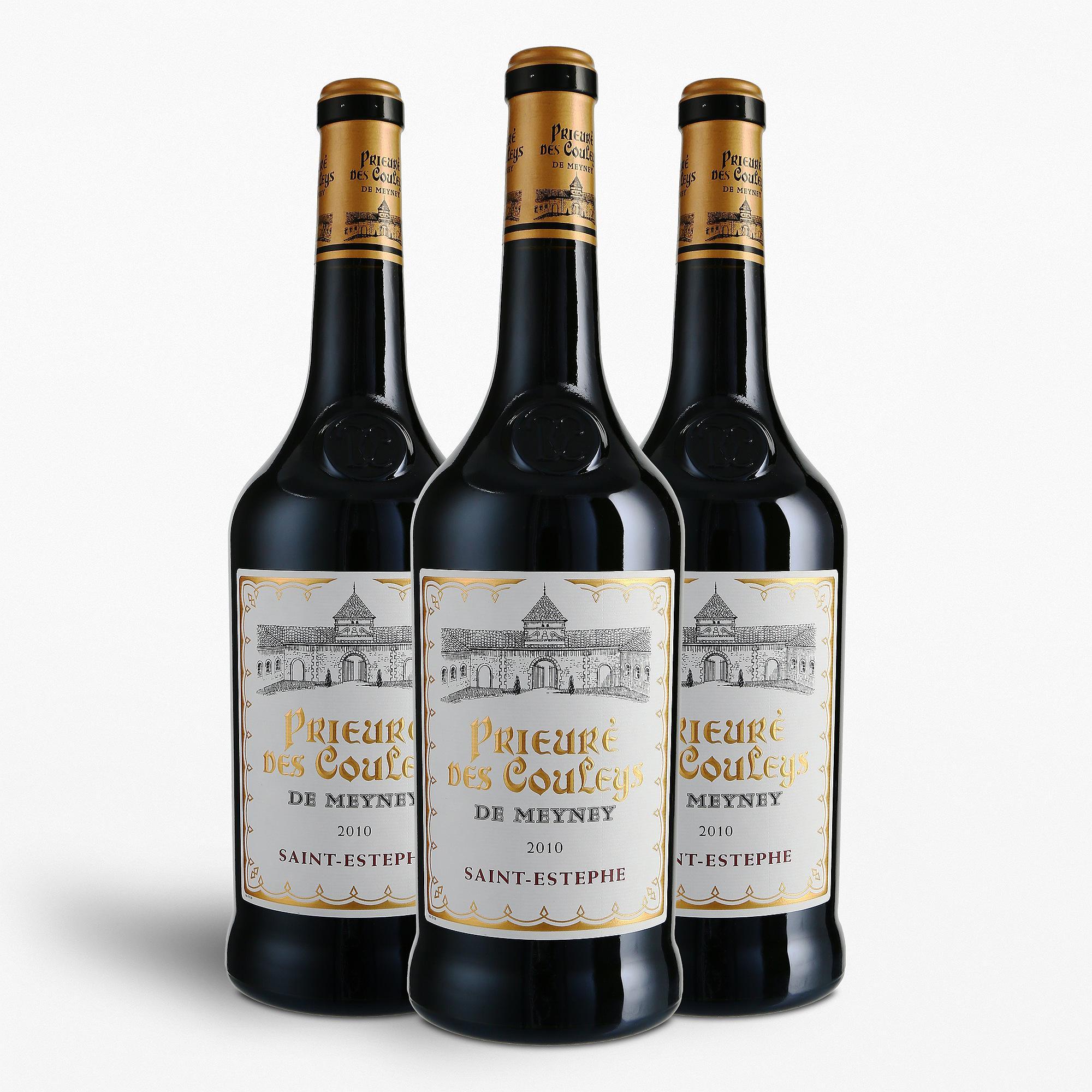 """3 Bouteilles de vin rouge Saint-Estèphe, Prieuré des Couleys de Meyney """"Collection Epoque"""" 2010 75 cl"""